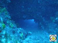 The small entrance of the cave is down to 30 meters depth and very hard to distinguish it